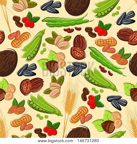Healthy nut, bean, seed and cereal seamless pattern on beige background with peanut, almond, coffee bean and berry, hazelnut, green pods of pea and bean, walnut, coconut, wheat and sunflower seed