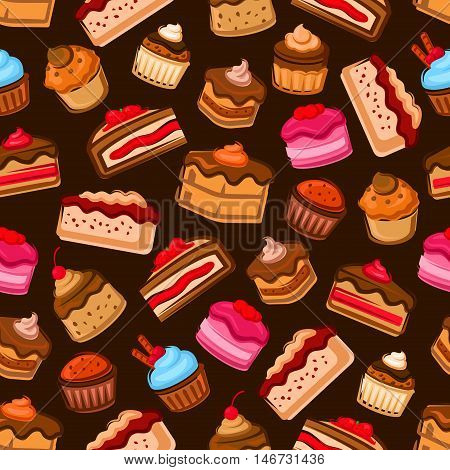 Chocolate cake and cupcake seamless pattern decorated by fresh strawberry and cherry fruit, berry, caramel and mint cream, jam and chocolate sauce on brown background