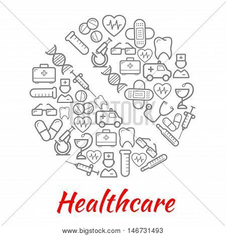 Pill symbol, composed of doctor, ambulance, stethoscope, syringe, drug, thermometer, heart, tooth, microscope blood test tube DNA first aid kit glasses plaster sketch icons