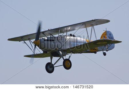 A former RAF Nimrod biplane in flight