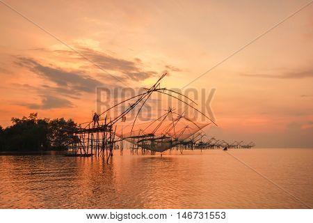 Thai style fishing trap in Pak Pra Village Net Fishing Thailand Thailand Shrimp Fishing Phatthalung Thailand.