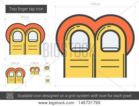 Two-finger tap vector line icon isolated on white background. Two-finger tap line icon for infographic, website or app. Scalable icon designed on a grid system.