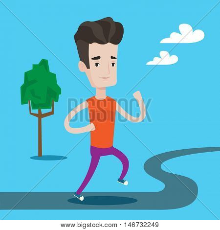 Young man running. Male runner jogging outdoors. Sportsman running in the park. Running man on forest road. Vector flat design illustration. Square layout.