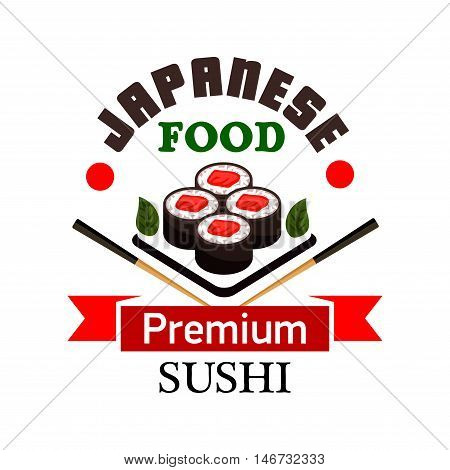 Sushi bar and japanese cuisine symbol with sushi rolls filled with salmon, framed by chopsticks and ribbon banner with text Premium