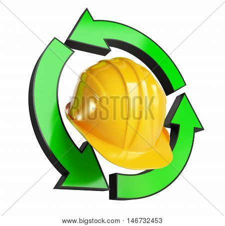 helmet worker recycling 3d on white background. 3d Illustrations