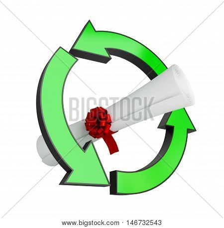 recycling diploma on a white background. 3d Illustrations