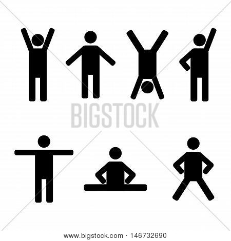 A set of stick figures black mens silhouettes on a white background in various poses and positions the icons people vector illustration.
