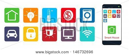 Smart House a set of web icons . The house climate security protection money enegriya appliances