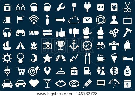 Set of web icons for business finance and communication vector