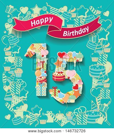 Card invitation with number and ribbon. Happy Birthday 15 year
