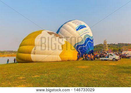 CHIANG RAI THAILANDFEBRUARY-13 2016:Balloon Fiesta Singha Park Chiang Rai 10-14 February 2016 has 30 ballons show at Singha Park Chiang RAiit is the biggest balloon show Thailand.