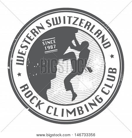 Rock climbing club stamp or emblem, vector illustration