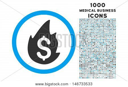 Business Fire Disaster rounded glyph bicolor icon with 1000 medical business icons. Set style is flat pictograms, blue and gray colors, white background.
