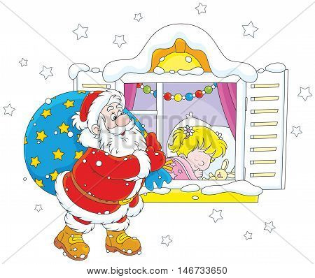 Santa Claus brought his Christmas gifts for a little girl sleeping in her bedroom