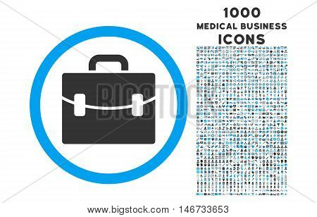 Case rounded glyph bicolor icon with 1000 medical business icons. Set style is flat pictograms, blue and gray colors, white background.