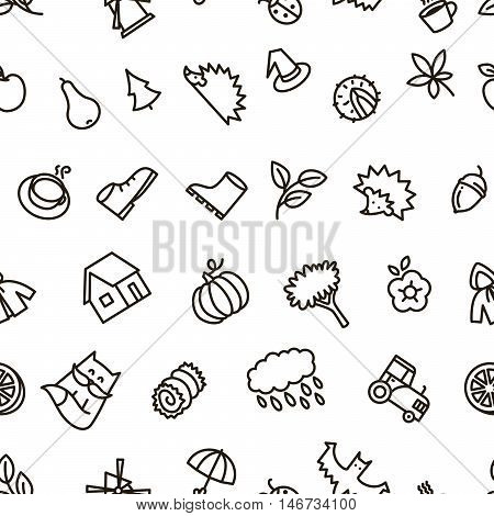 Fall season balck and white cute vector seamless pattern in line art style