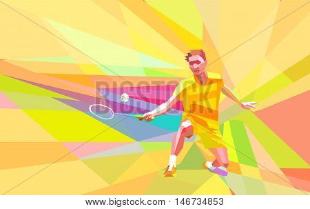 Polygonal geometric professional badminton player on yellow and orange colorful low poly background doing forehand shot with space for flyer, poster, web, leaflet, magazine. Vector illustration