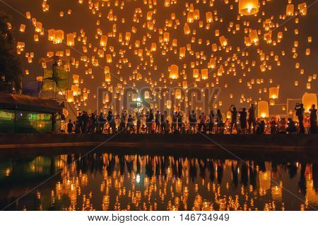 Floating lantern at Chiang Mai Province Asia Thailand