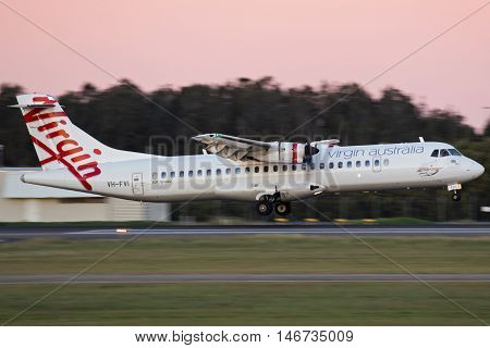 BRISBANE, AUSTRALIA - June 25: A Virgin Australia ATR72 aircraft lands in Brisbane, Australia, on Saturday, 25th June, 2016