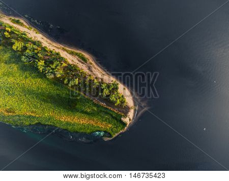 Aerial shot of the islet in the river of Kama, Russia