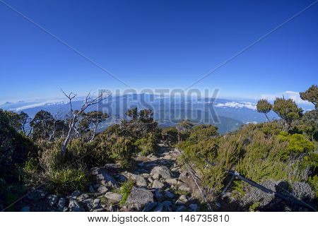 Beautiful trail to the summit of Mount Kinabalu Sabah Malaysia. Mount Kinabalu or Gunung Kinabalu is the 20th most prominent mountain in the world by topographic prominence.