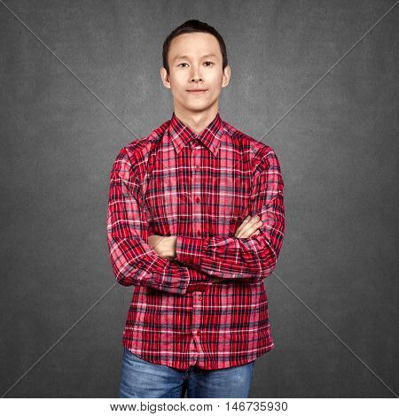 Asian man looking on camera, with folded hands