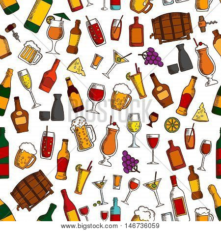 Aperitif drinks, cocktails and appetizers seamless pattern with wine, beer, champagne, whisky, sake, vodka, tequila, lemonade, juice, milkshake with cheese olive grape and lemon fruits