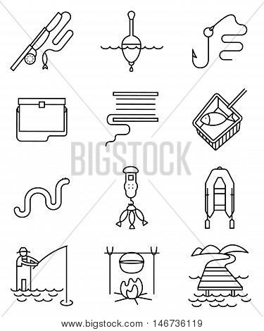 Fishing hobby line art thin and simply black and white icons set. Collection of minimalistic signs with fisherman with rod tacle fish worm landscape with lake and pier net bobbin with reel inflatable boat with oars hook and float illustration