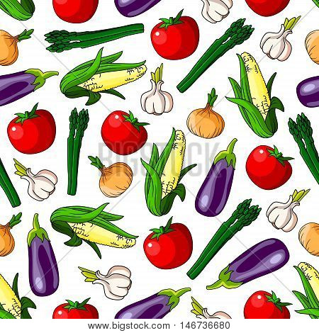 Ripe vegetables seamless pattern background with tomato, onion, eggplant, garlic, corn and asparagus vegetables. Agriculture theme or gardening design