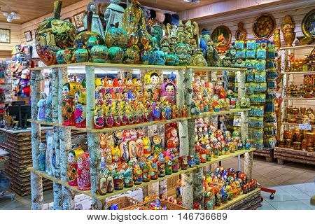 St Perersburg Russia - April 5 2016: typical russian traditional souvenir store