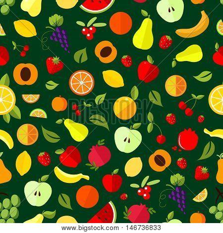 Fresh berry and fruit seamless pattern. Apple, orange, banana, strawberry, cherry, grape, lemon, peach pear watermelon pomegranate and cranberry fruits background
