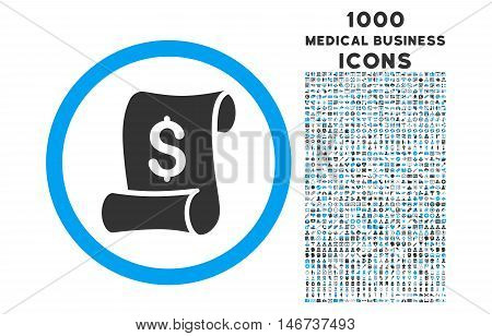 Financial Receipt Roll rounded vector bicolor icon with 1000 medical business icons. Set style is flat pictograms, blue and gray colors, white background.