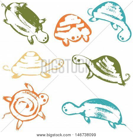 Vector set with colorful cute sea turtles wall stickers. Underwater reptiles icons collection