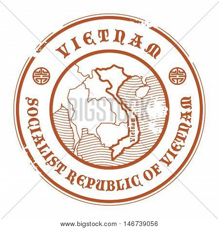 Grunge rubber stamp with the name and map of Vietnam, vector illustration