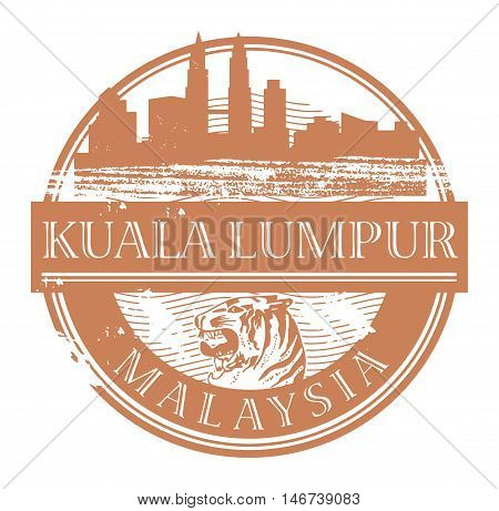 Grunge rubber stamp with the name of Kuala Lumpur, Malaysia written inside the stamp, vector illustration