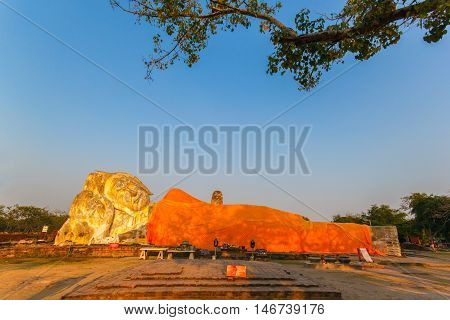 Giant Buddha statue in the historical Park of Ayutthaya Phra Nakhon Si Ayutthaya Thailand