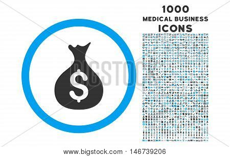 Money Sack rounded vector bicolor icon with 1000 medical business icons. Set style is flat pictograms, blue and gray colors, white background.
