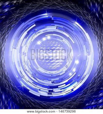 Abstract concentric circles a stylized globe a grid of lighting effects and glare.
