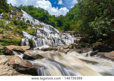 Mae ya waterfall is a beautiful waterfall in chiang mai Thailand.