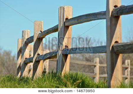 A split rail country fence