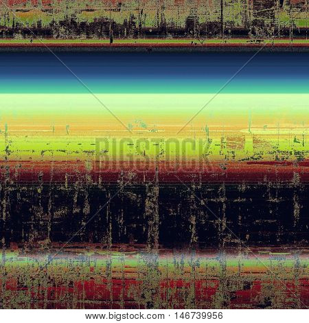 Old school frame or background with grungy textured elements and different color patterns: yellow (beige); green; blue; red (orange); black; pink