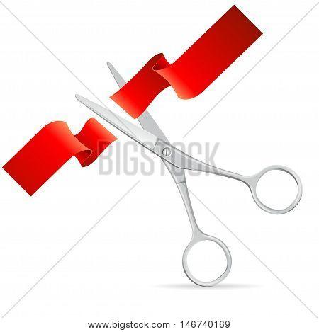 Silver Scissors Cut Red Ribbon. Symbol Of The Beginning. Vector illustration