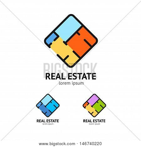 Sign Real Estate Set for Your Business. Plan Floor. Vector illustration