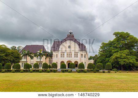 Phra Ram Ratchaniwet (Wang Ban Peun) king Rama 5 palace in raining day Phetchaburi Province Thailand
