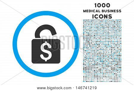 Unlock Banking Lock rounded vector bicolor icon with 1000 medical business icons. Set style is flat pictograms, blue and gray colors, white background.