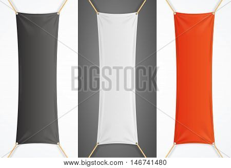 Vertical Textile Advertising Banner with Folds Set. Vector illustration