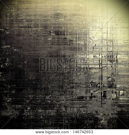 Background with dirty grunge texture, vintage style elements and different color patterns: yellow (beige); brown; gray; black; white