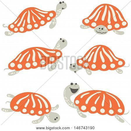 Vector icon set with cute cartoon earthen turtle in childish style. Funky colorful reptiles collection.