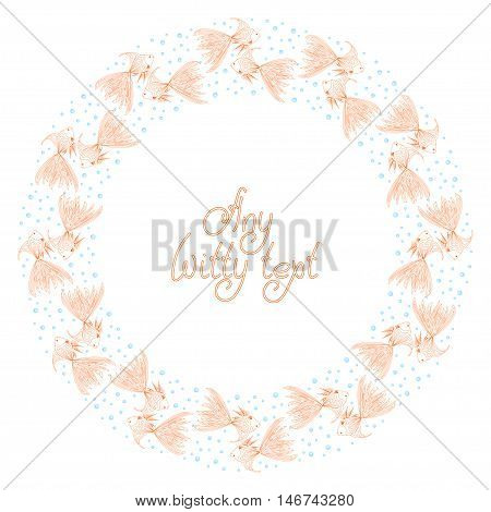 Cute funny background pattern border frame with repeating gold fishes and bubbles isolated on the white fond. With space for invitations or different events greeting cards text. Vector illustration eps 10