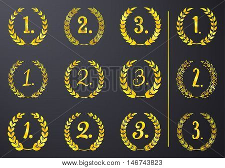 Golden vector laurel wreaths first second third place